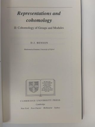 REPRESENTATIONS AND COHOMOLOGY, II : COHOMOLOGY OF GROUPS AND MODULES