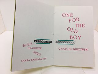ONE FOR THE OLD BOY : A NEW YEAR'S GREETING FROM BLACK SPARROW PRESS