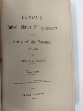 BERDAN'S UNITED STATES SHARPSHOOTERS IN THE ARMY OF THE POTOMAC 1851-1865