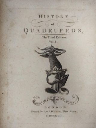 HISTORY OF QUADRUPEDS THIRD EDITION (TWO VOLUMES, COMPLETE)