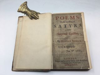 POEMS CHIEFLY CONSISTING OF SATYRS AND SATYRICAL EPISTLES. Robert Gould.