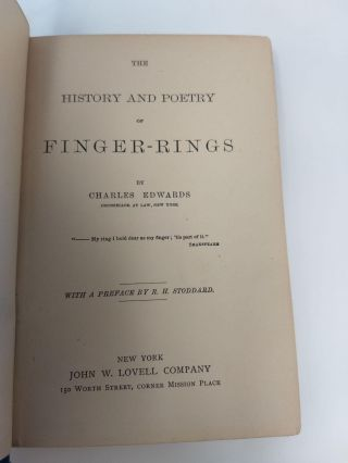 HISTORY AND POETRY OF FINGER RINGS