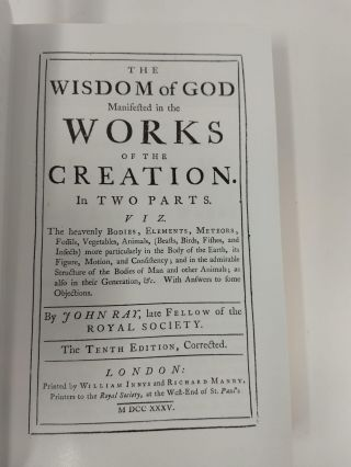THE WISDOM OF GOD MANIFESTED IN THE WORKS OF THE CREATION IN TWO PARTS