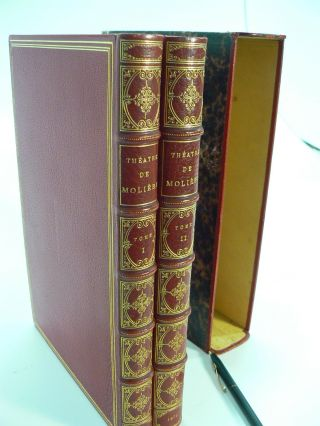 THEATRE CHOISI DE MOLIERE (Two Volumes); (SIGNED BINDINGS