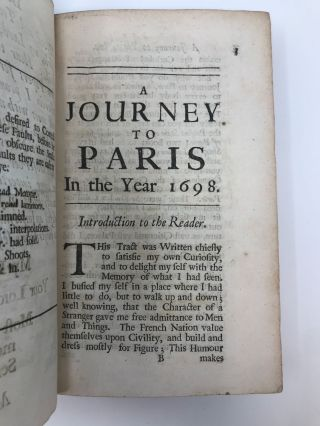 A JOURNEY TO PARIS IN THE YEAR 1698