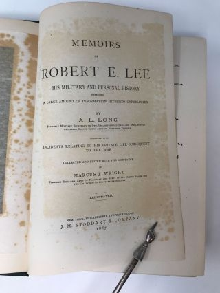 MEMOIRS OF ROBERT E. LEE : HIS MILITARY AND PERSONAL HISTORY EMBRACING A LARGE AMOUNT OF INFORMATION HITHERTO UNPUBLISHED TOGETHER WITH INCIDENTS RELATING TO H IS PRIVATE LIFE SUBSEQUENT TO THE WAR; TOGETHER WITH INCIDENTS RELATING TO H IS PRIVATE LIFE SUBSEQUENT TO THE WAR